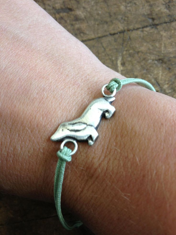 Mini Sterling Silver Dachshund Friendship Bracelet with Textile Cord