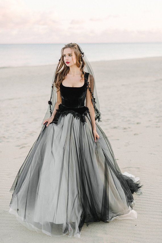 Black Wedding Dress Tulle Wedding Dress Black Bridal Gown Lace