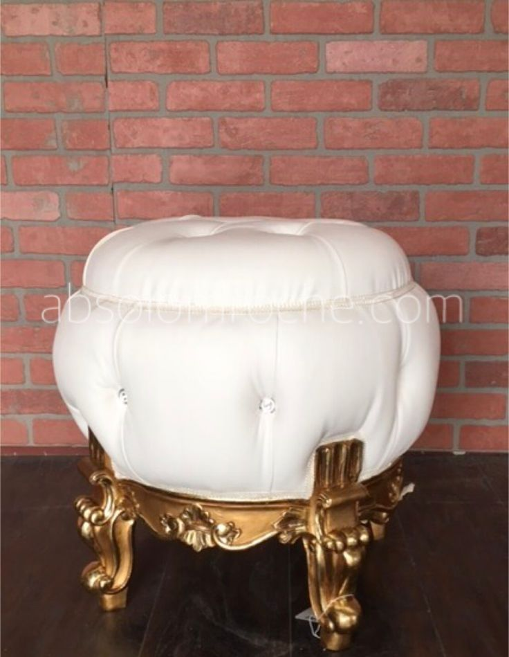 33% OFF FACTORY SAMPLE | Baroque Boudoir Ottoman Stool Seating - Gold/White