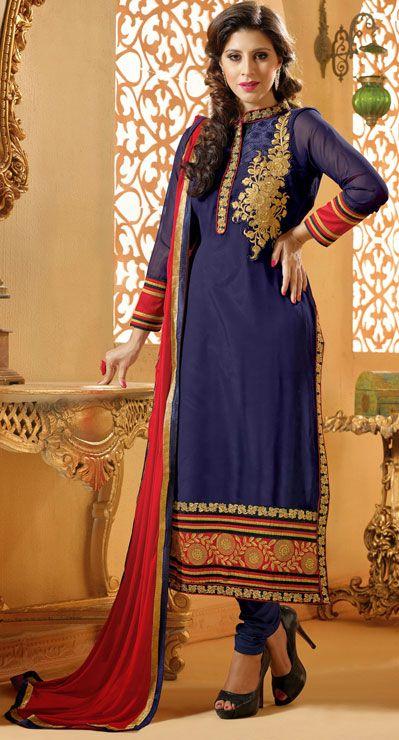 USD 33.4 Navy Blue Georgette Churidar Suit 42759