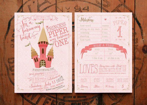 Roze en gouden prinses Birthday Party Uitnodigingen - printbare uitnodiging voor feestje - Piper