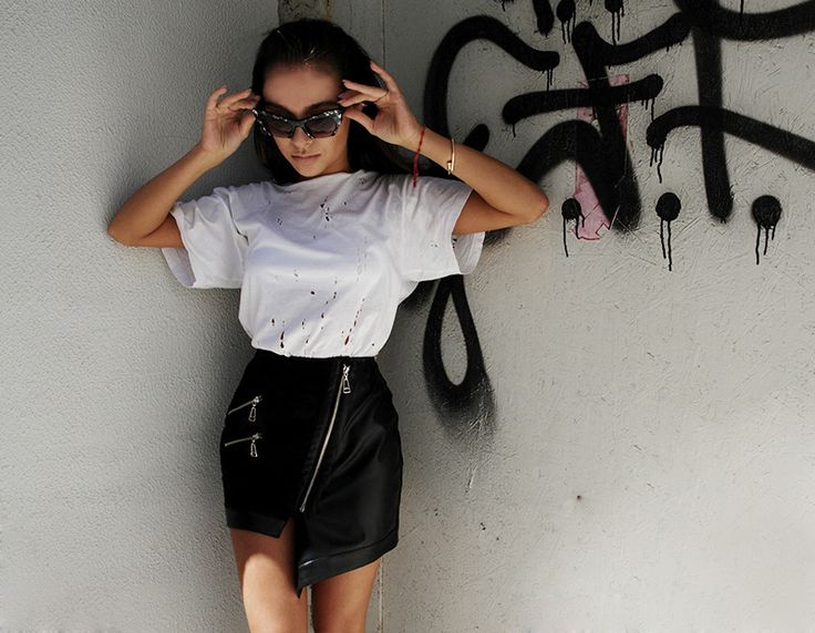 skirt leather black zippers woman outfit backstage  backstg.com