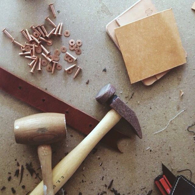 """""""Scraps, off-cuts and tests.""""  #leatherwork #handmade #handcrafted #leather #workshop"""