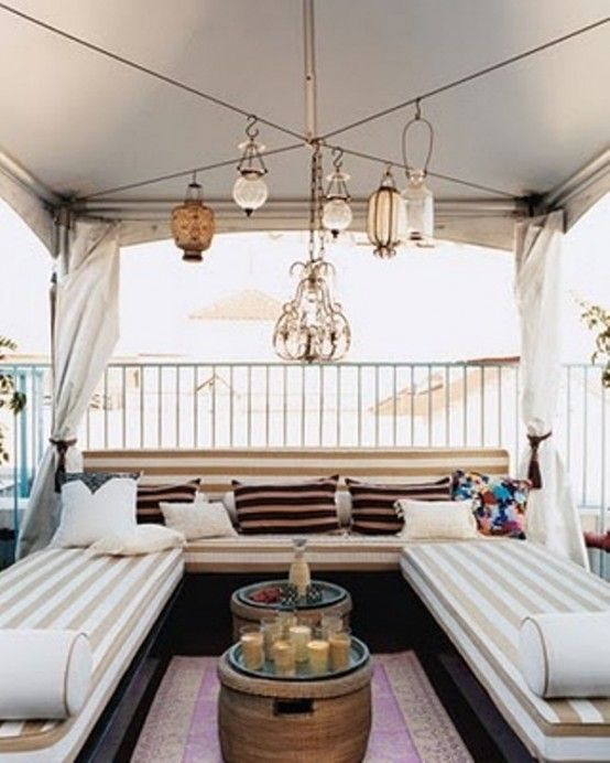 "40 Coolest Modern Terrace And Outdoor Dining Space Design Ideas | DigsDigs ...""X"" wire for hanging lamps. Canopy."