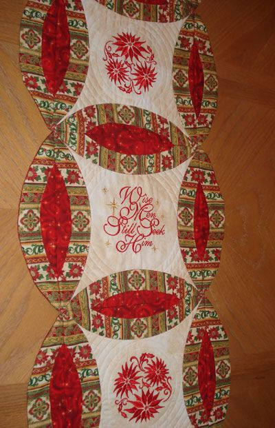 Christmas Table Runner | Holiday | Pinterest | Machine Embroidery Christmas Stuff And Christmas ...