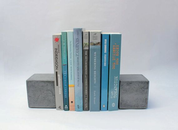 Modern Concrete Bookends   Cube by roughfusion on Etsy, $36.00