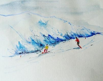 """Check out new work on my @Behance portfolio: """"Sport"""" http://be.net/gallery/41328511/Sport #winter #snow #watercolor #акварель"""