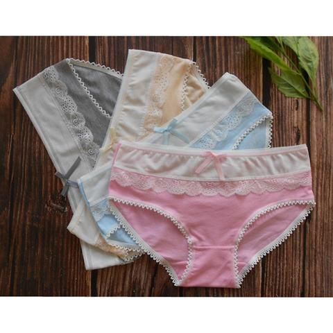 3bf21070a8c 4 pieces Cotton Panties Woman Underwear Sexy Fashion Briefs Fancy Lace  female Bow underpants Pink Sky