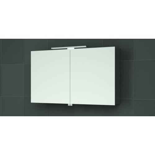 Bruynzeel spiegelkast 75cm met 2 deuren exclusief verlichting aluminium - 232404 - Sanitairwinkel.nl