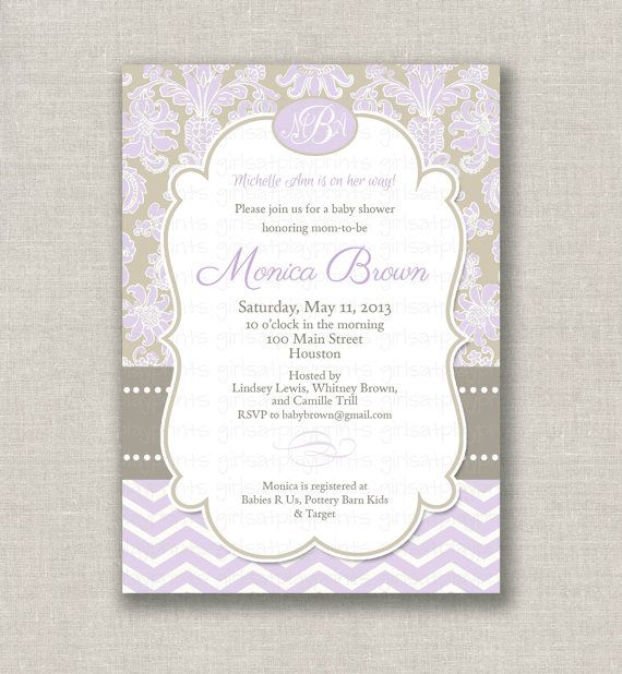 Lovely Lavender Baby Shower Invitations Part - 3: Find This Pin And More On Lexie Baby Shower By Lsegelquist. Baby Shower  Girl Invitation Invite Chevron Lavender By Girlsatplay