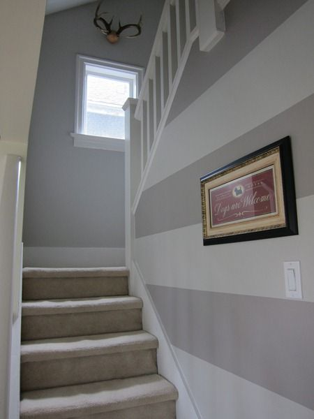 Best 25 grey striped walls ideas on pinterest striped for Painting a room two colors opposite walls