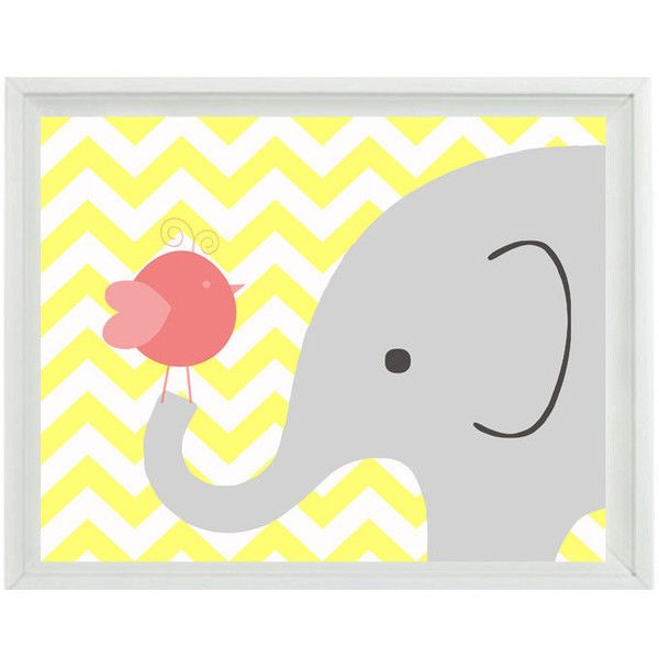 Elephant Bird Chevron Nursery Wall Art Print - Yellow Gray Pink Decor - Children Kid Baby Girl Room - Wall Art Home Decor 8x10 Print ($15) found on Polyvore
