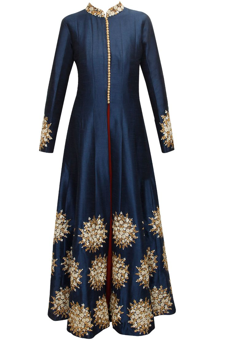 Blue floral embroidered motif kurta with maroon strappy inner available only at…