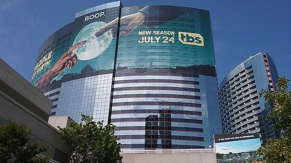 """One of the towers at the San Diego Marriott Marquis & Marina touts the TBS comedy series """"People of Earth"""" - Lou Hirsh"""