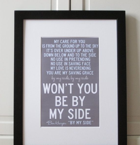 This site creates a print of the lyrics to your first dance song. Would be so sweet next to a photo of the first dance. :)