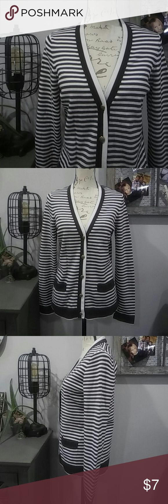 4 for $15 nautical lands end cardigan Lands end cardigan is designed to appear vintage with navy and white stripes and 2 tone buttons with a faux royal crest on them. 🌟🌟🌟4 for $15 sale is for any 4 different qualifying listings! Lands' End Sweaters Cardigans