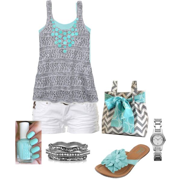 Aqua and Gray by dmac30 on Polyvore