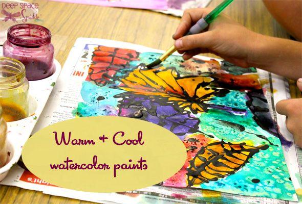 elmers glue + black acrylic paint = watercolor resist; warm + cool colors