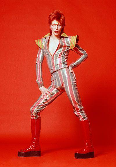 Striped bodysuit for Aladdin Sane tour, 1973 designed by Kansai Yamamoto.    Photograph: Masayoshi Sukita/courtesy of The David Bowie Archive