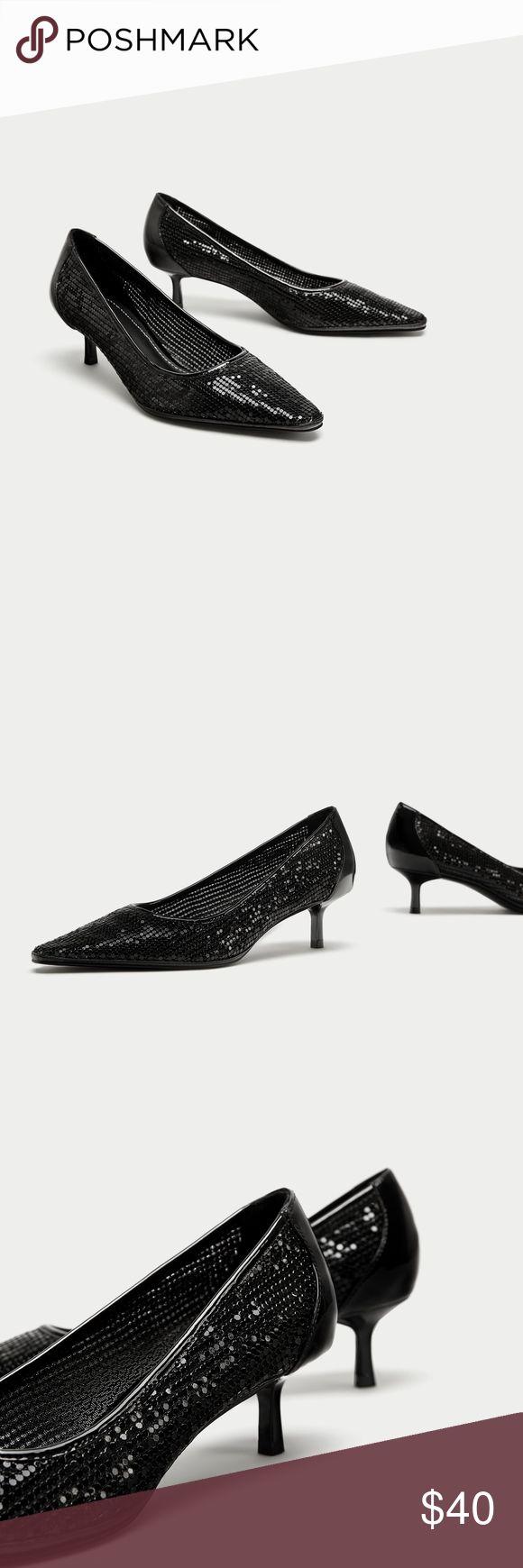 ZARA METAL MESH LOW HEEL COURT SHOES Black mid-heel shoes. Mesh detail on the upper. Patent finish back.  Heel height of 5.1 cm. / 2.0″ Zara Shoes Heels