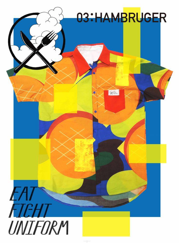 2014.9 EAT FIGHT UNIFORM 食べることは戦争だ!をコンセプトに、食べ物をモチーフにした迷彩服を制作。食べる時のための戦闘服です。 シャツ縫うの大変だった…