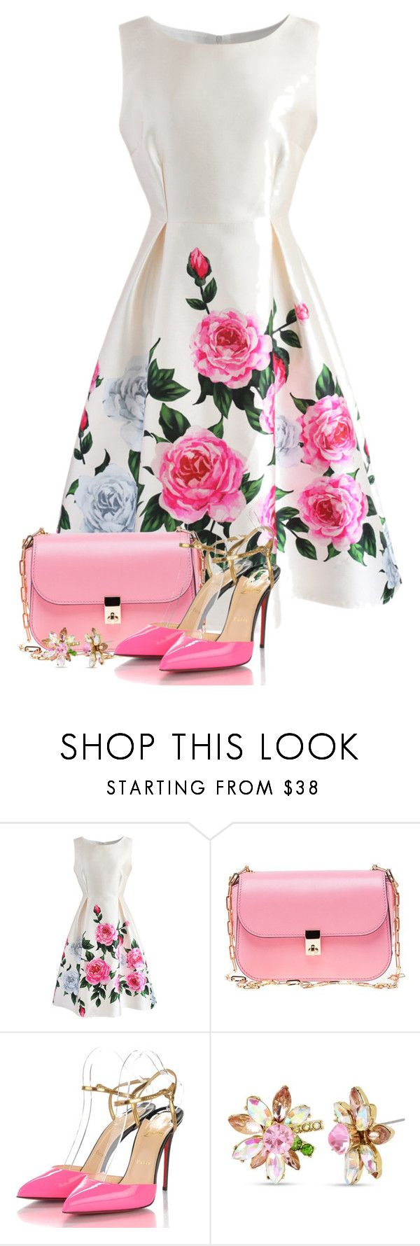 """""""Untitled #6497"""" by cassandra-cafone-wright ❤ liked on Polyvore featuring Chicwish, Valentino, Christian Louboutin and Betsey Johnson"""