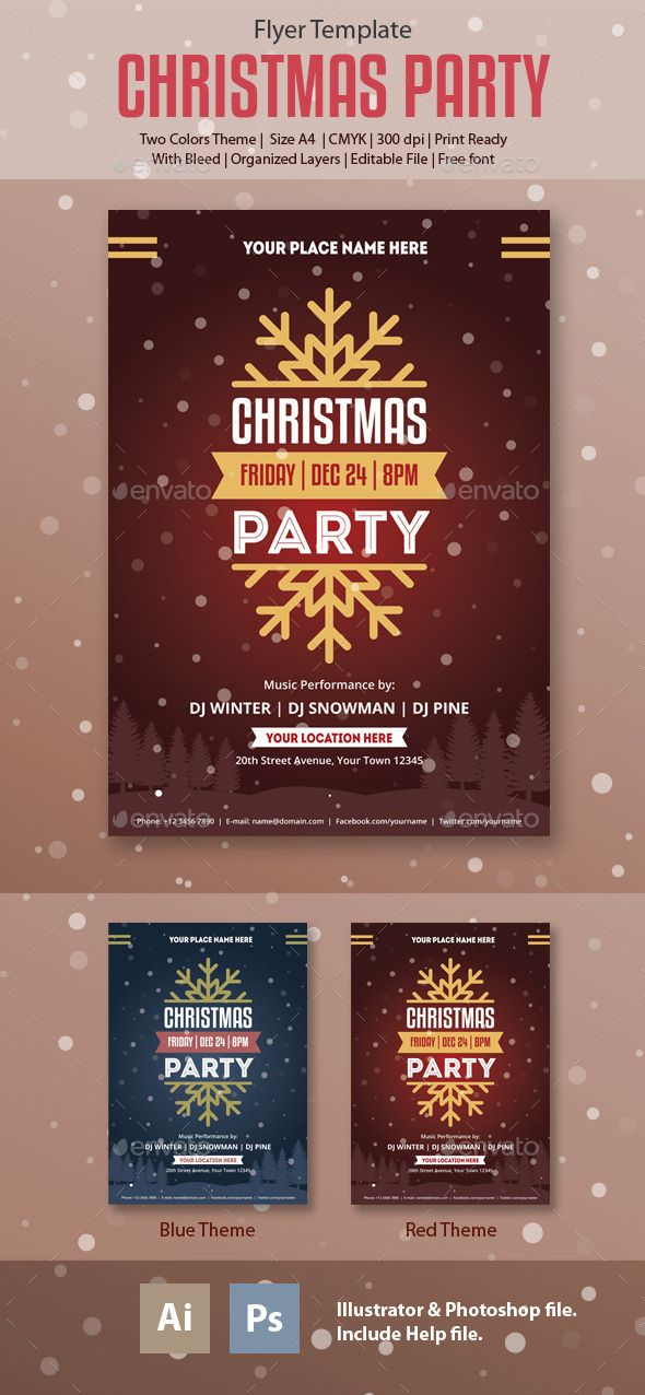 Christmas-Party Flyer Template PSD #design Download: http://graphicriver.net/item/christmasparty-flyer-template/13935849?ref=ksioks