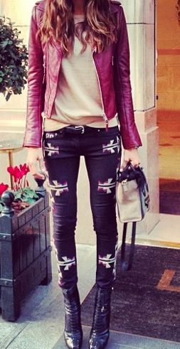 Oxblood leather jacket, Aztec skinnies, ankle boots... Edgy bohemian outfit for winter.