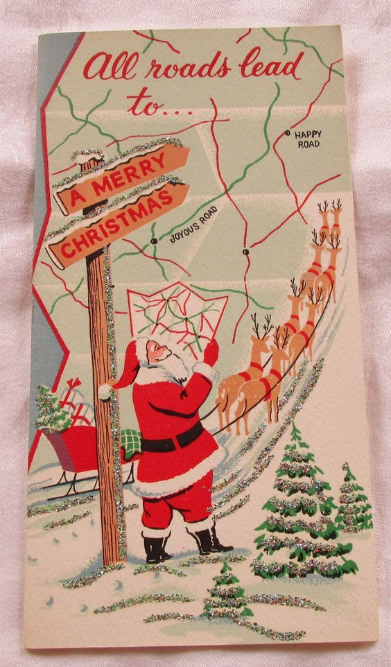 Vintage Christmas Card with Santa Reading a Map & Reindeer