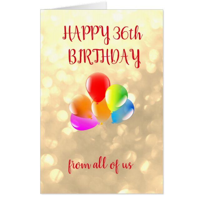 Large Happy 36th Birthday Card Zazzle Com Happy Birthday Boss Happy 90th Birthday Happy 41st Birthday