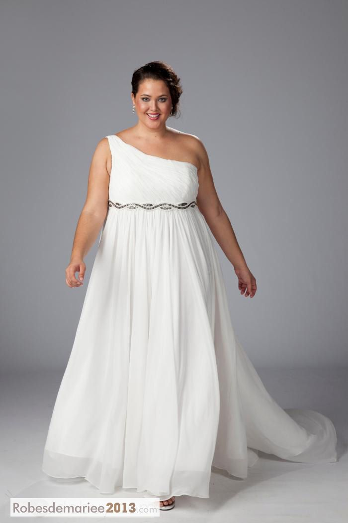 Dreses impressionnante de mariage Empire One-Shoulder Watteau Floor-Length perles Taille Plus