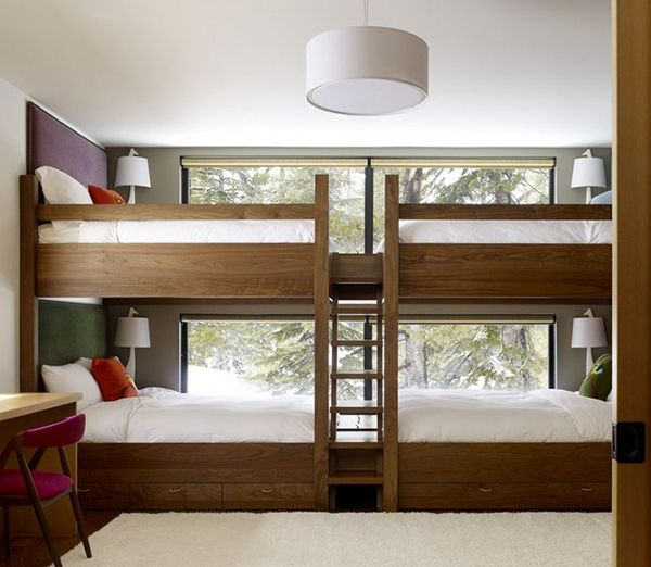 Four child bunk in front of windows.  Not sure how I feel about this but we get some *cold* winters.