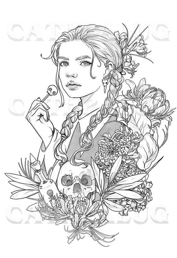 Macabre Girl Coloring Page Halloween Skull Flowers Line Etsy Coloring Pages Coloring Pages For Girls Macabre