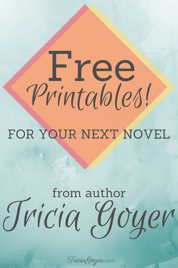Free Printables For Your Next Novel - TriciaGoyer.com TheWritersCraft.com has a great set of worksheets. Creating Characters Framing the Story Charting the Scenes