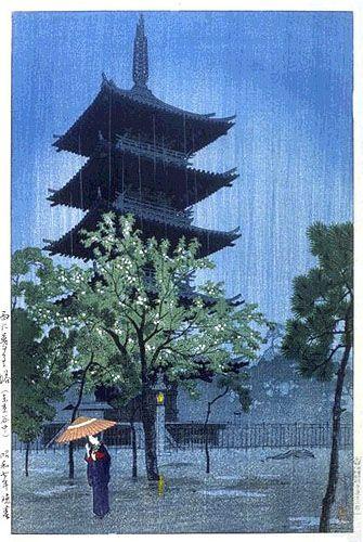 """""""Rainy Evening at Ueno Park, Yanaka"""" par Shiro Kasamatsu (1898–1991)artiste peintre japonais travaillant la technique de l'estampe."""