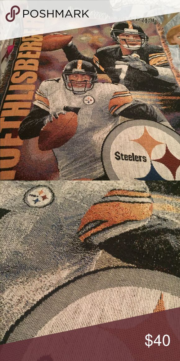 Steelers blanket 30x67 Preowned and nice and huge Steelers woven blanket nfl Accessories