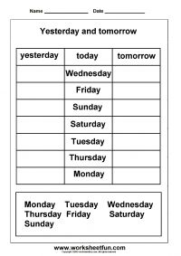 Days of the Week Worksheets