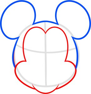 how to draw mickey mouse for kids step 3