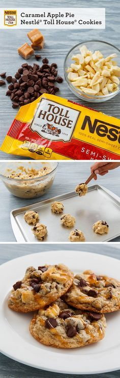 Apple pie is great, but Caramel Apple Pie Nestle Toll House Cookies are even better. These tasty fall treats perfectly combine apples, caramel, and of course chocolate, baked to perfection in this delicious cookie!
