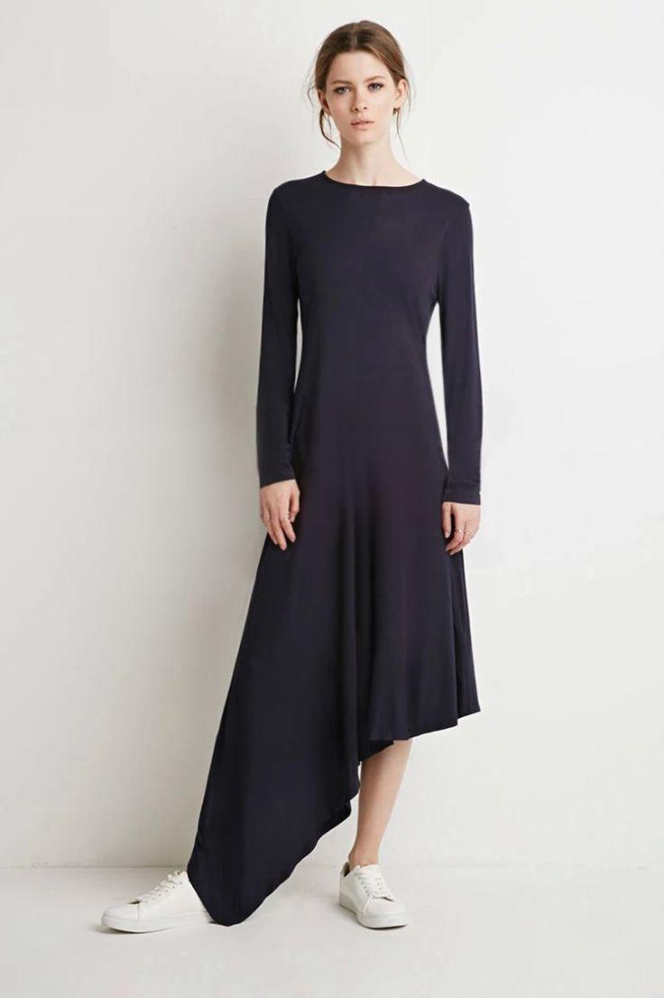 Long Sleeve Round-Neck Asymmetrical Side Curve Dress Black