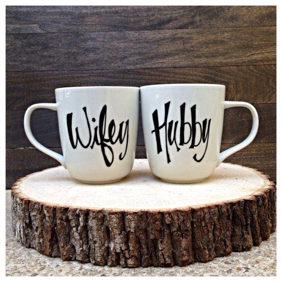 Hubby and Wifey Wedding Coffee Mugs Bridal Shower by TheBeezeKnees