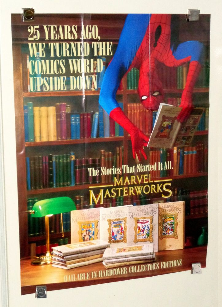 Rare vintage original 1989 Amazing Spider-man Marvel Masterworks 31 by 24 inch promo poster 1: Scarce 1980's Amazing Spiderman live action actor promotional pin-up display poster