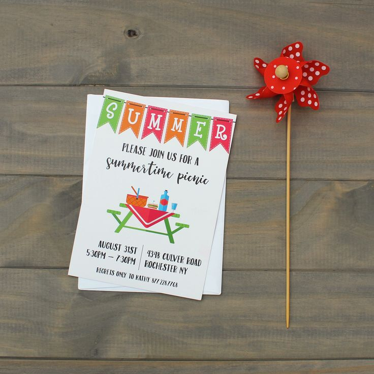 boy baby shower invitations australia%0A Simple summer picnic invitation with banner and picnic spread   CatPrint  Design