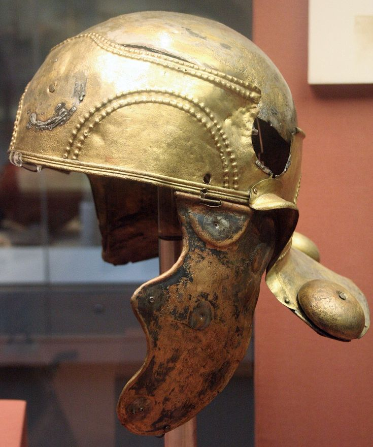 TIL of the Witcham Gravel helmet a Roman auxiliary cavalry helmet found in England with three hollow bosses on the neck guard. No other Roman helmet is known to have such a feature.