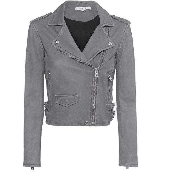 IRO Ashville Grey // Lamb leather biker jacket (€939) ❤ liked on Polyvore featuring outerwear, jackets, coats & jackets, coats, gray jacket, zip jacket, grey cropped jacket, cropped moto jacket and grey jacket