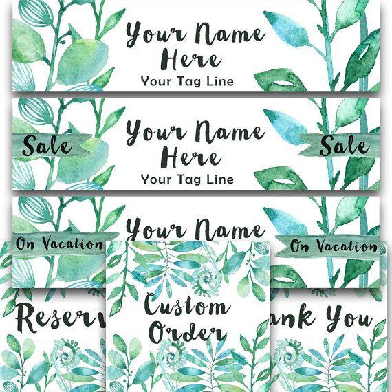 Etsy shop banner set green Foliage new size by RowanTreePrints