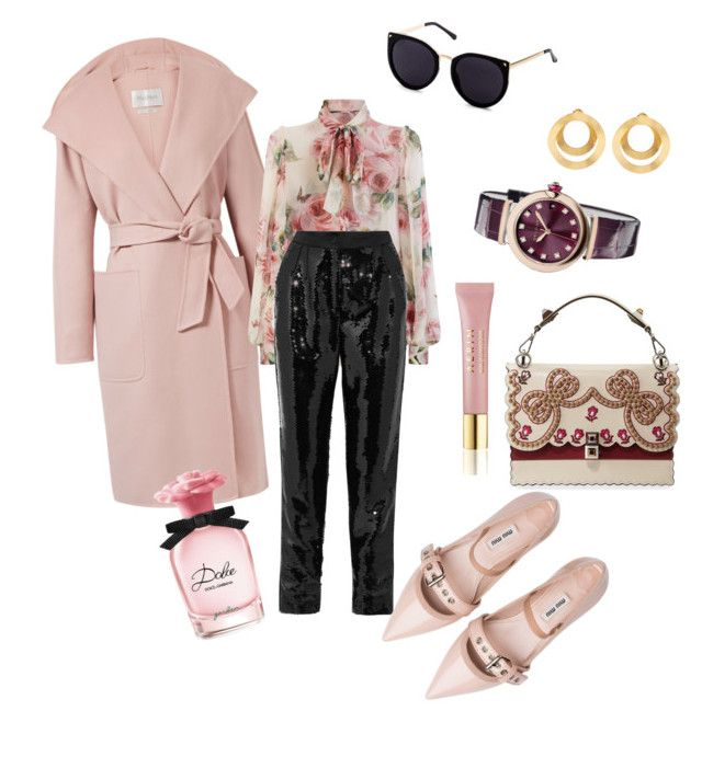 """Dolce&G in pink"" by nedelamirela on Polyvore featuring MaxMara, Dolce&Gabbana, Miu Miu, Anissa Kermiche, Bulgari and AERIN"