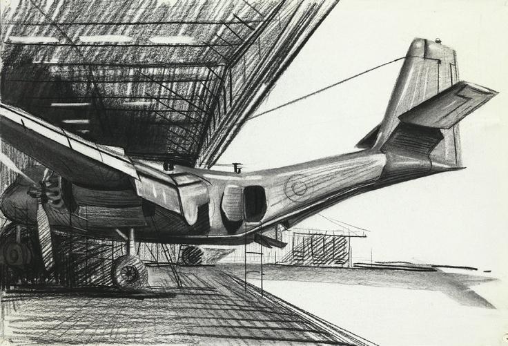 McFadyen, Ken 'RAAF Caribou, Vung Tau, Vietnam 1968', charcoal, rubbing out on paper, 38.4 x 56.2 cm.  #kenmcfayden #vietnamoncanvas #sandrafingerlee #vietnamwar #warart #plane #warplane #sketch #charcoal