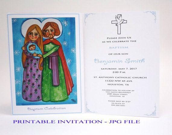 Christening invites Girl christening invitation Girl baptism invitation girl Holy Family Baptism invites Invitacion bautizo Christening card