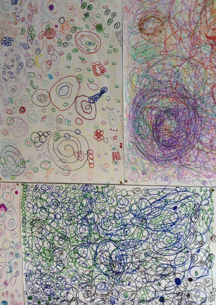 Groot vel papier , groepjes maken ,cirkels tekenen en telkens na een minuut doordraaien ,naar het werk van de volgende .